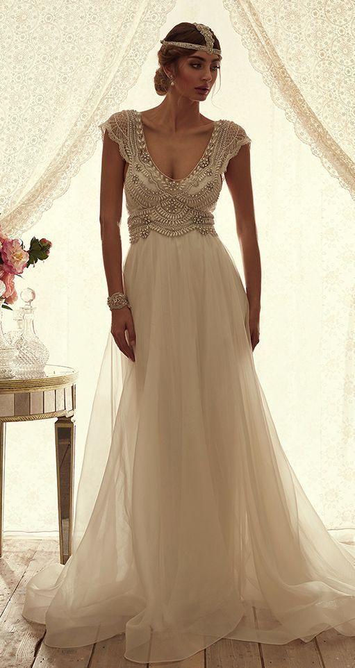 Bohemian Pearl-Beaded Silk Skirt Wedding Dress – MODwedding