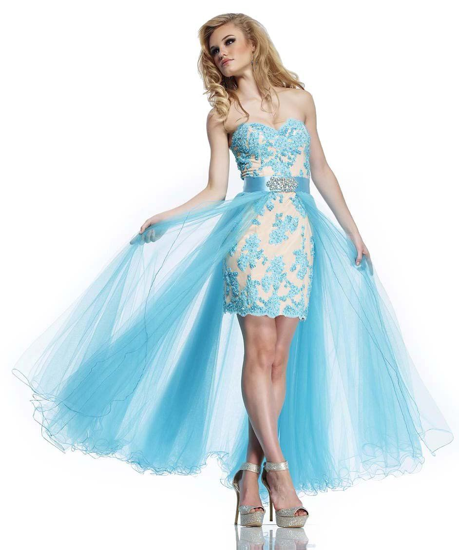 Riva Designs R9758 High Low Prom Dress, Turquoise/Nude, 2 ...