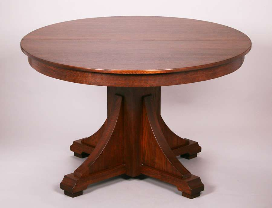 Stickley Brothers Dining Table Signed Refinished Four New Skirted Leaves 48