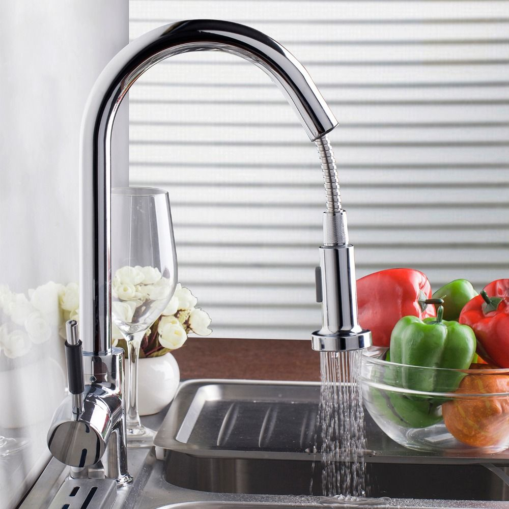 DE Contemporary Pull Out Stream Spout Chrome Brass Finish Deck Mounted Tap kitchen Sink Faucet Hot & Cold Mixer Polish Taps