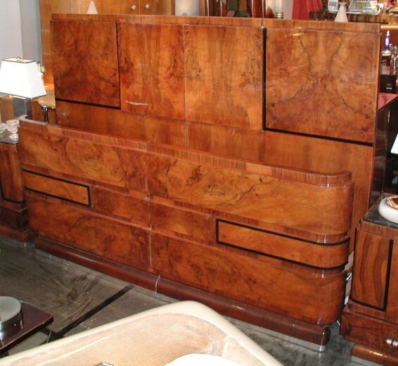 italian art deco bed headboard footboard from 1935