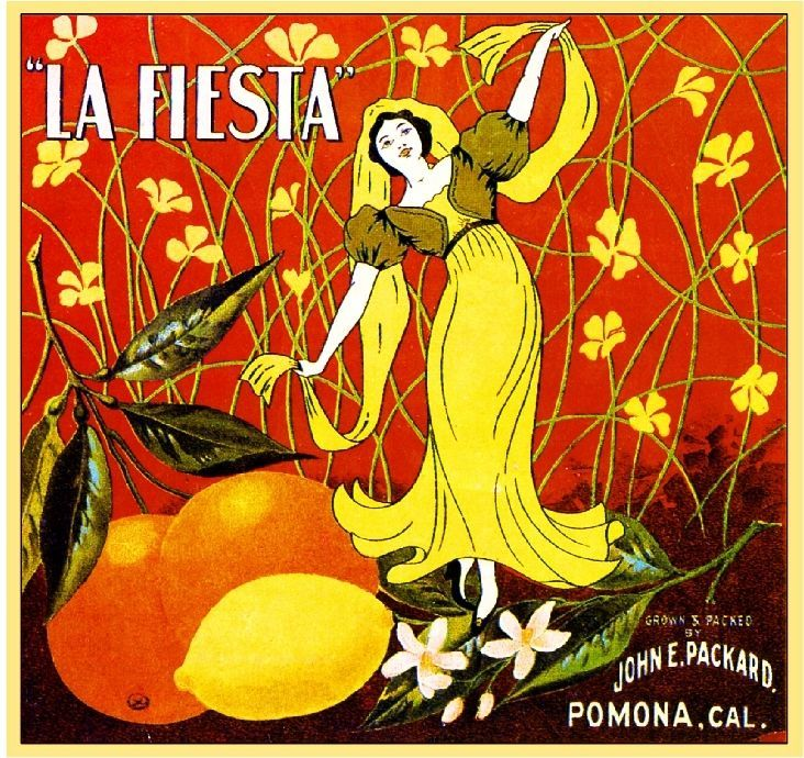 Pomona Los Angeles County La Fiesta Orange Citrus Fruit Crate Label Art Print