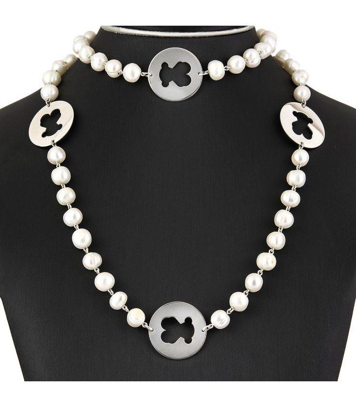 69e672d6b6fe Collar de perlas freswater con motivos de plata de 925ml en forma de osos