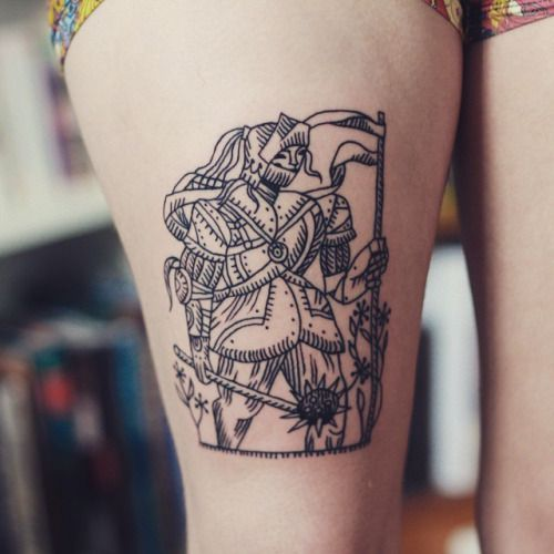 A Beautiful Illustrated Knight Tattoo