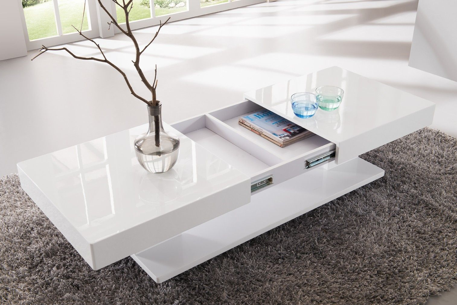 Table Basse Design Blanc Laque Avec Rangements Et Plateaux Coulissants Eva Table De Salon Moderne Table Basse Blanche Table De Salon