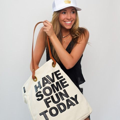 The LUXE Tote - (* Pre-Order for June delivery) - $150. Leather and canvas for one cool bag! www.havesomefuntoday.com
