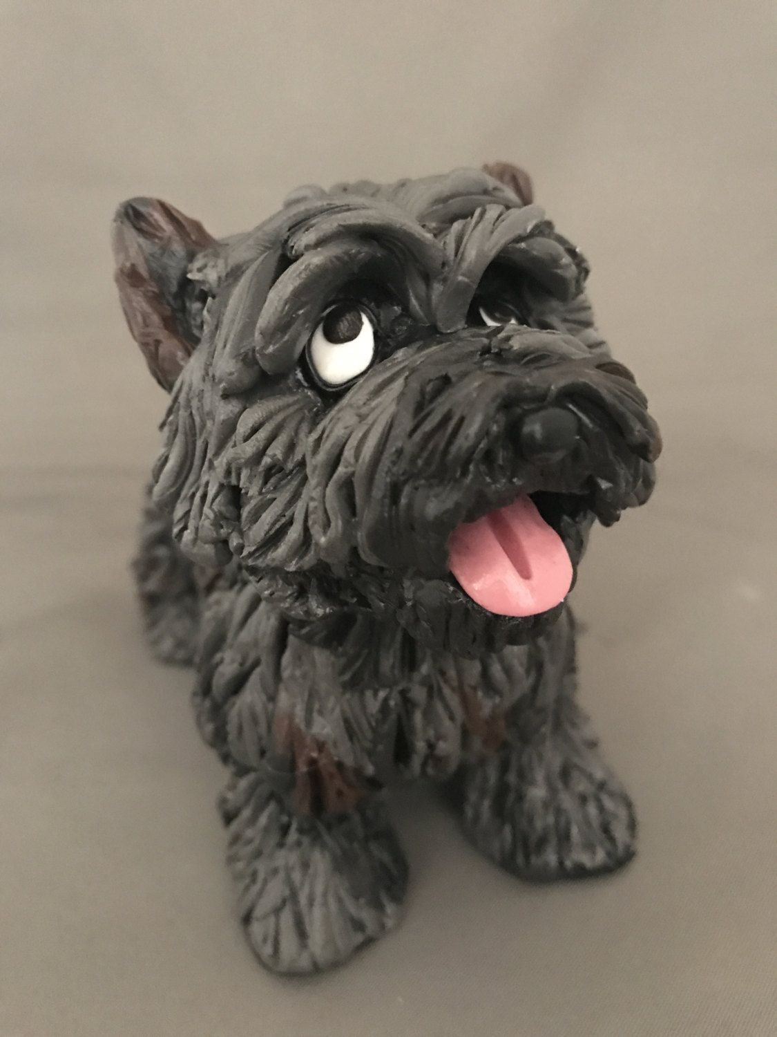 CAIRN TERRIER gray puppy TiNY FIGURINE Resin Dog MINIATURE Small Mini Pet STATUE