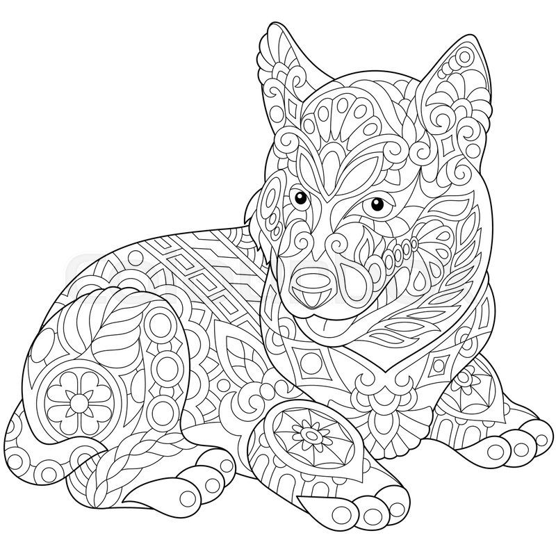 milo cat otis dog coloring pages | Stock vector of 'Stylized cute husky dog (puppy). Freehand ...