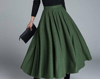 7f9ebcf6acbbbd green wool skirt