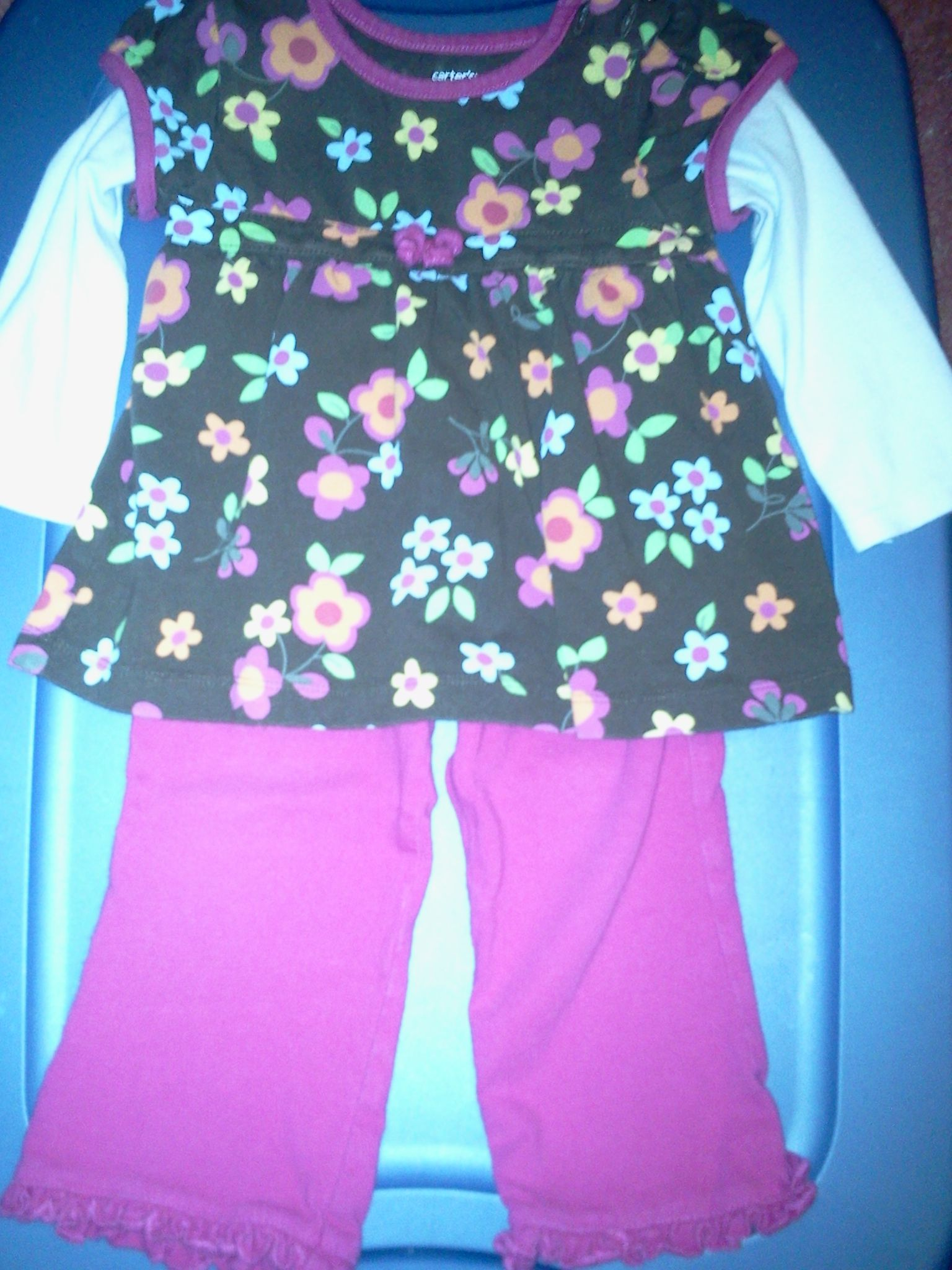 Carters 12m 2pc l/s pant set in Tiny_Treasures' Yard Sale Hartsville, TN for $3.00. Dark brown colorful flowered top with hot pink pant.