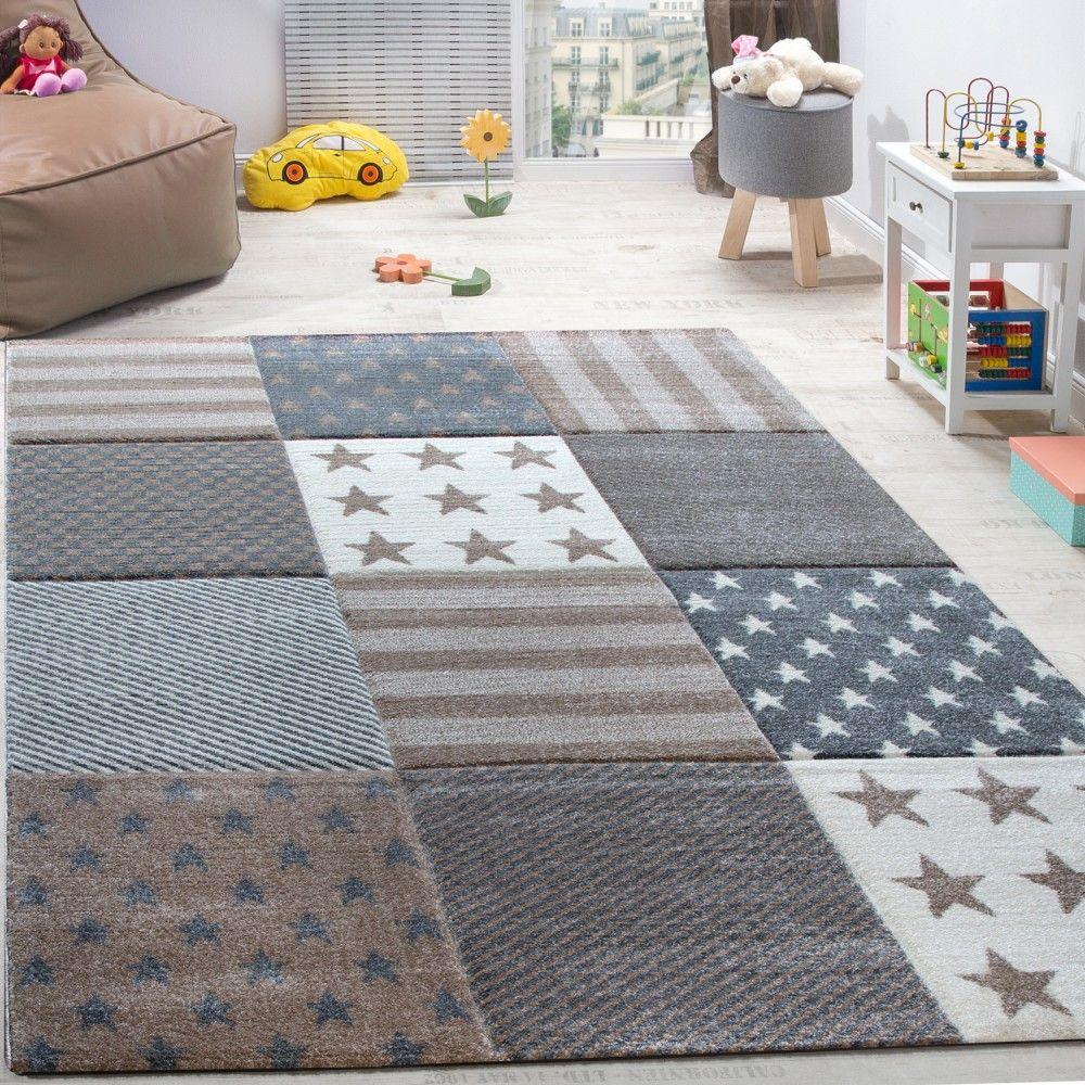 Kinderzimmer Teppich Sterne Karo Beige Teppich