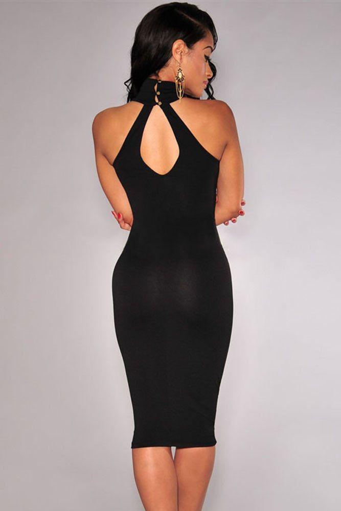 92c2b1eef94 Elegant Mock Neck Racer Style Black Midi Dress  Dresses  Chic  Fashion