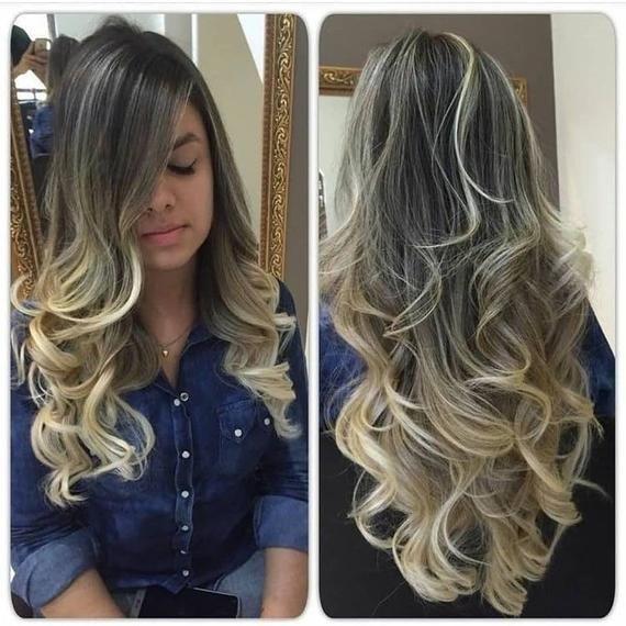 Blonde Dark Root Layered Wig / Smoky Honey Blonde
