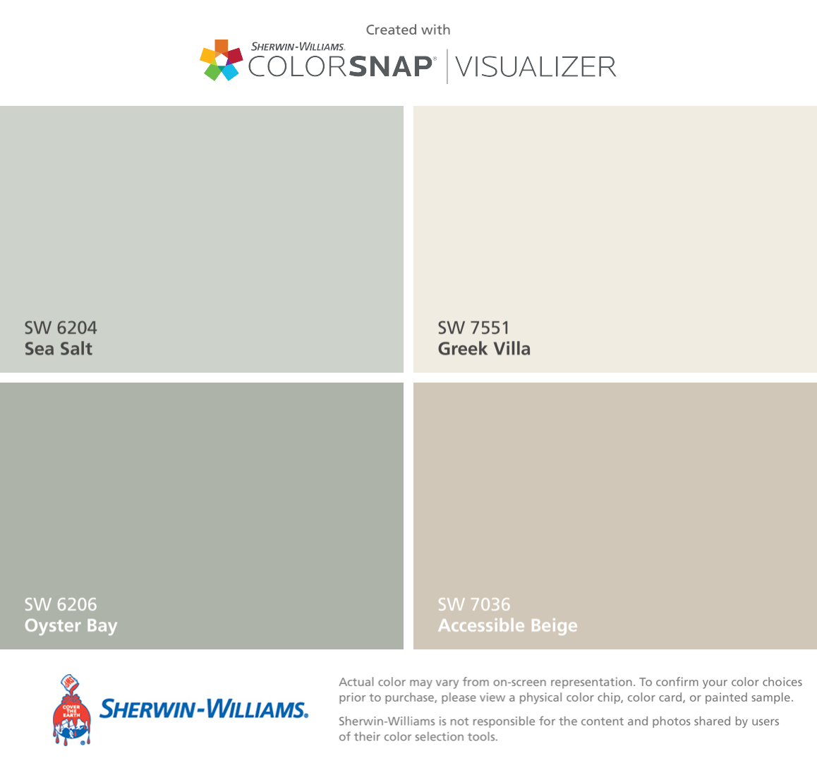 Sherwin Williams Greek Villa - I found these colors with colorsnap visualizer for iphone by sherwin williams sea salt sw oyster bay sw greek villa sw accessible beige sw