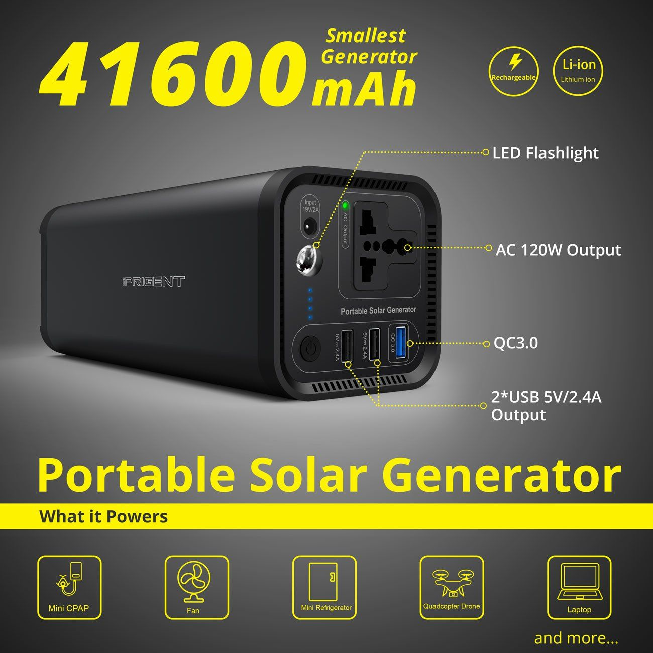 Portable Solar Generator Power Source 41600mah 154wh Camping Cpap Battery Pack With 110v Silent Ac Outlet Inver Portable Solar Generator Solar Generator Solar