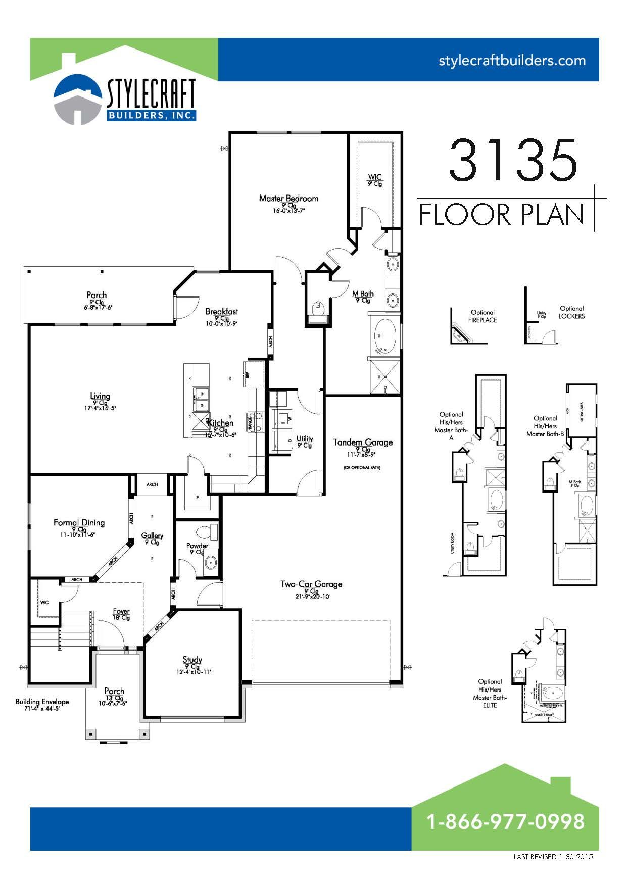 3135 Floor Plan Bridgewood Community Stylecraft Builders