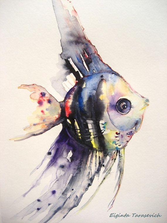 Eiginta Tarasevich Aquarell Fisch Fisch Kunst Aquarell Tiere