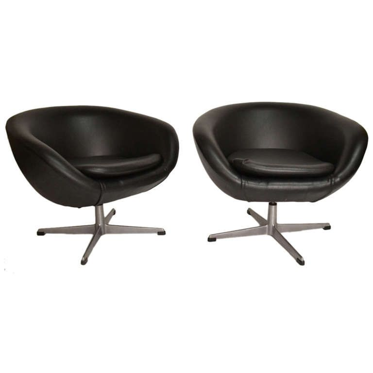 Pair Classic Overman Swivel Pod Chairs In Black Vinyl