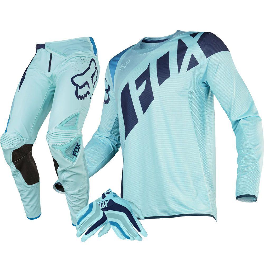 2689ccd8c4ab Fox Racing NEW 2016 Mx LE Ken Roczen Seca Flexair Ice Blue Aqua Gloves Gear  Set