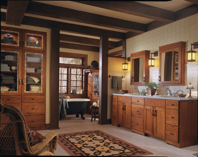 A Mission Style Bathroom With Oak Cabinentry In Autumn Blush