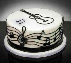 Bolo Com Notas De Musica E Violao Cakepins Com Com Imagens