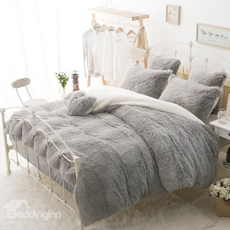 Solid Gray And White Color Blocking Fluffy 4 Piece Bedding Sets Duvet Cover Bed Linens Luxury Bed Linen Sets Duvet Bedding
