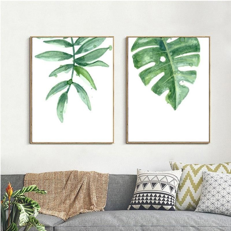 Greenery Plant Leaves Minimalist Simple Nordic Wall Art Canvas Paintings Modern Fine Art Prints For Conservatory and Living Room Home Decor -   13 minimalist planting Art ideas