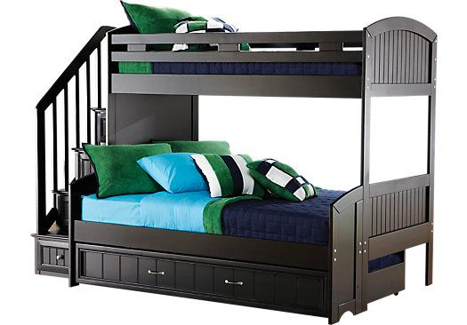 Shop For A Cottage Colors Black Twin Full Step Bunk Bed At Rooms To