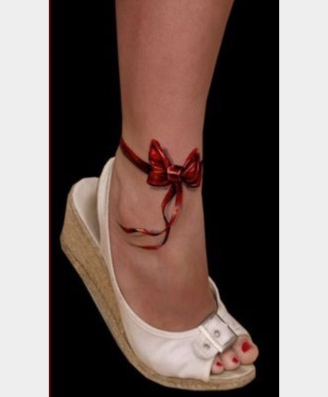 Delicate Flowing Red Ribbon Bow Anklet Ankle Tattoo Girly Bow Tattoo Ankle Band Tattoo Red Ribbon Tattoos