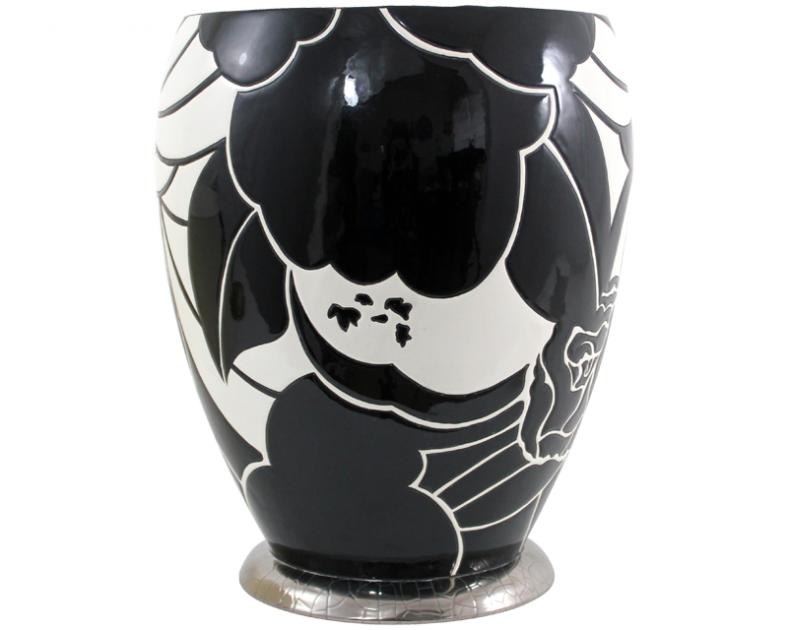 grand vase rose noire curetti pour longwy art d co. Black Bedroom Furniture Sets. Home Design Ideas