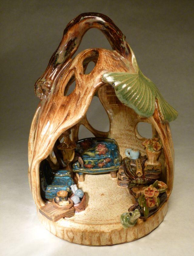 Wheel thrown fantasy fairy house lantern by Regina Wolff