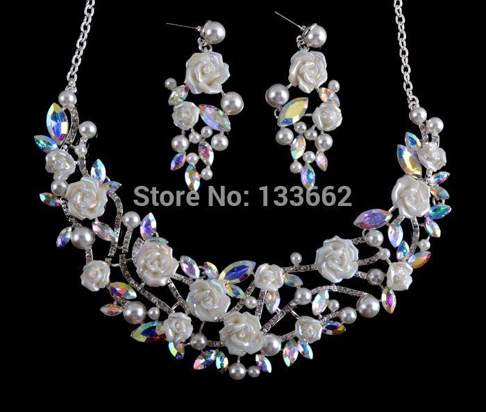 c8577aad8a4ba Korean style crystal AB bridal Necklace earrings set porcelain ...