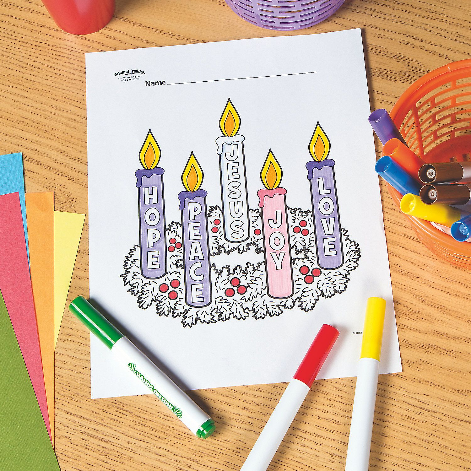 Advent Wreath Free Printable Coloring Page OrientalTrading