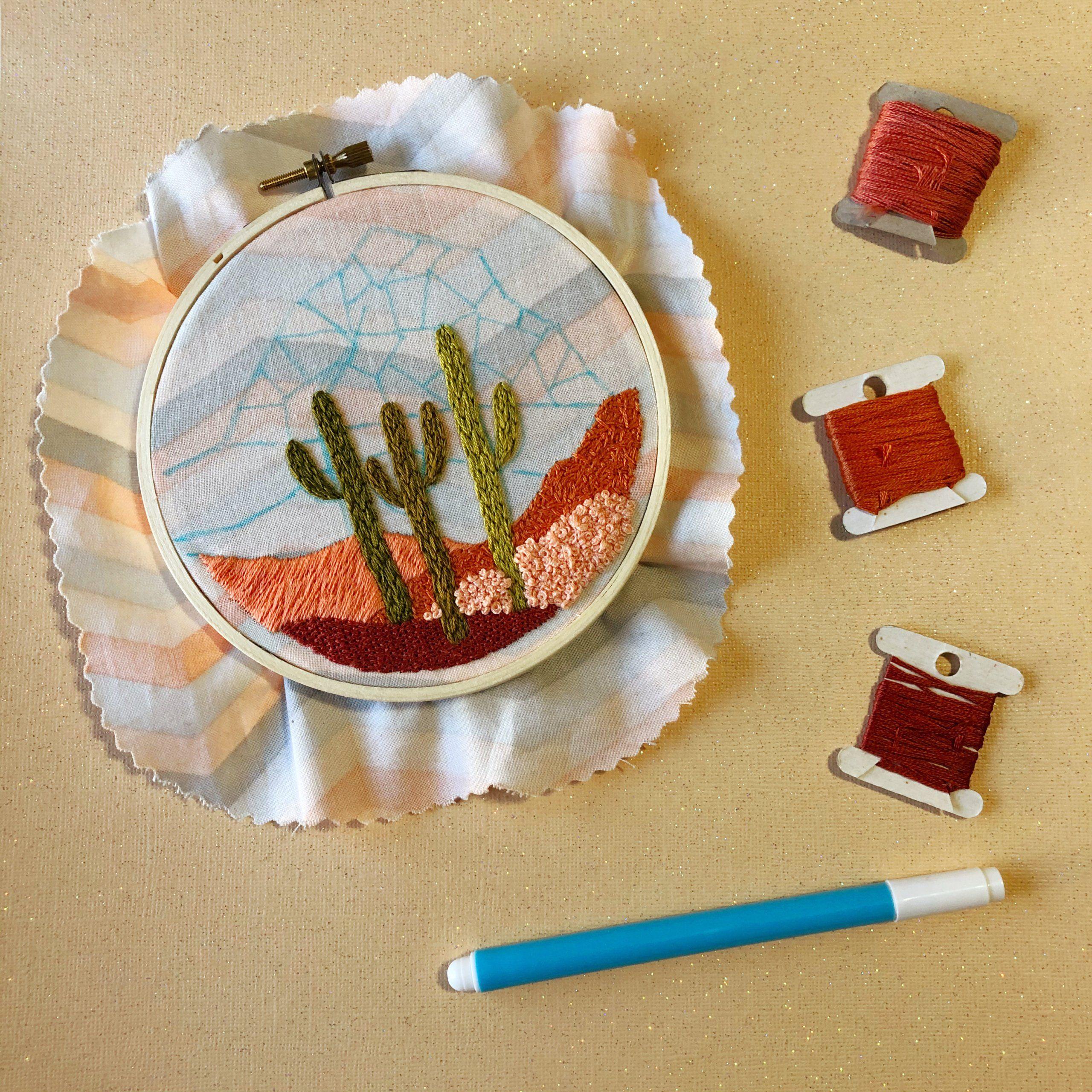 Photo of Joshua Tree Desert Landscape DIY Beginner Embroidery Kit