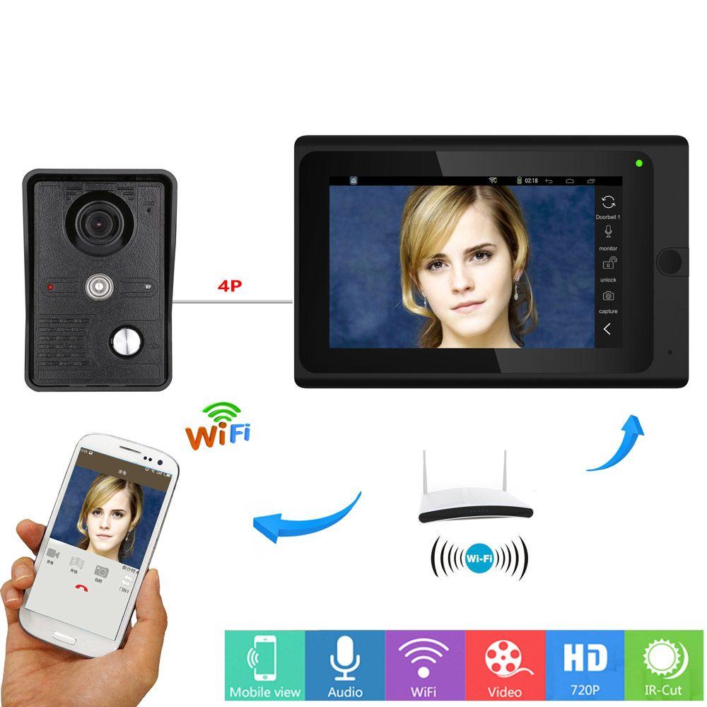 "7/"" Wifi  Wireless//Wired Video Door Phone Doorbell Intercom System 1000TVL Camera"
