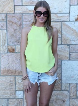 Yellow High Neck Sleeveless Top,  Top, yellow high neck flowy tank, Chic