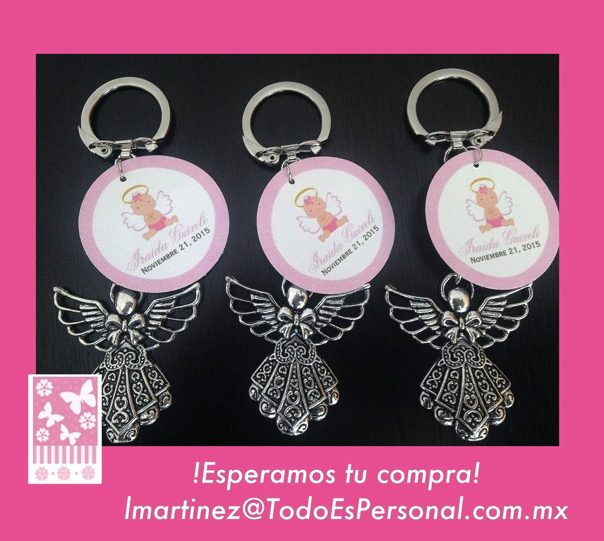 Angel Llavero para bautizo ($23.50 c/u) compra mínima 10 piezas
