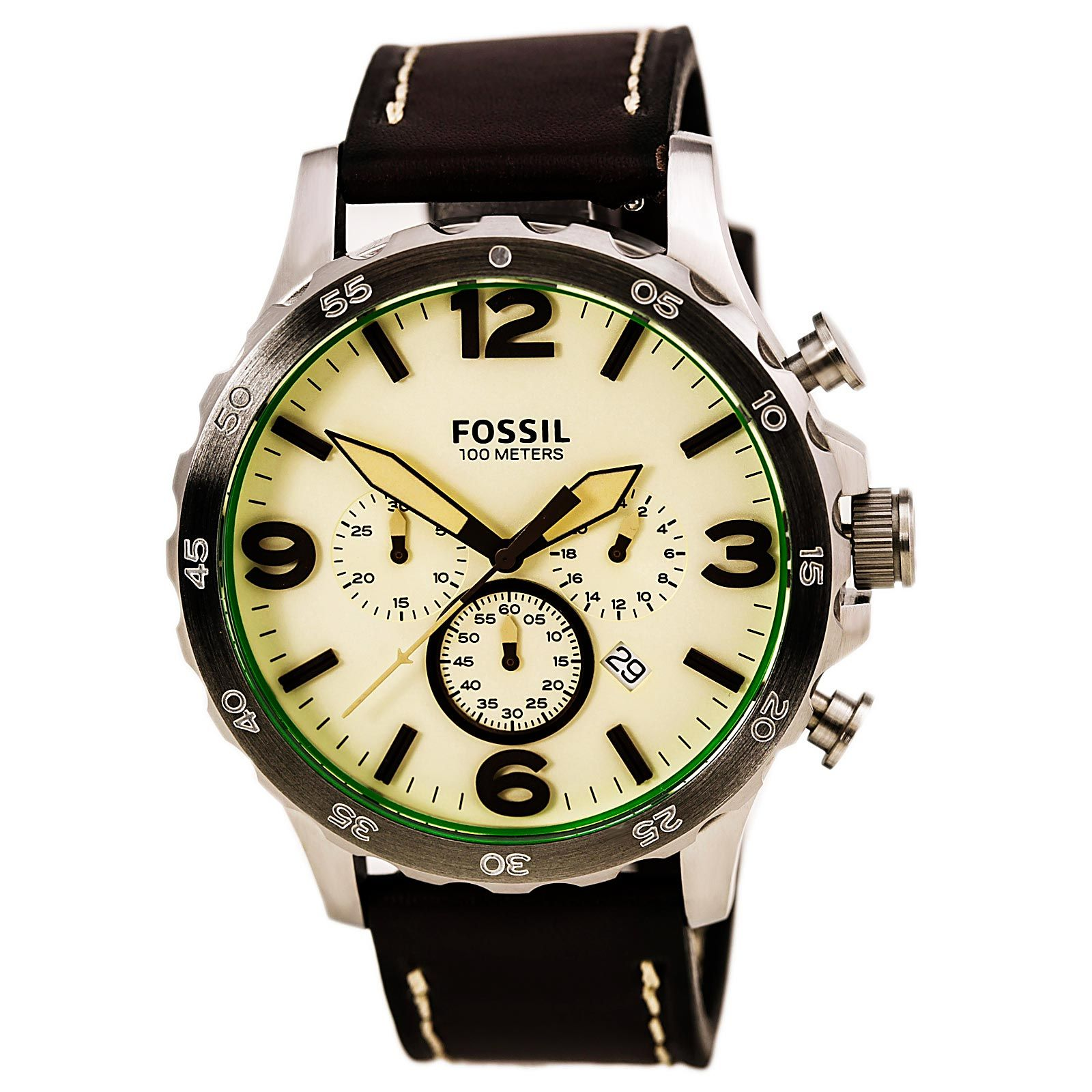 Fossil Gent's Nate Chrono Cream Dial Brown Band Watch JR1496