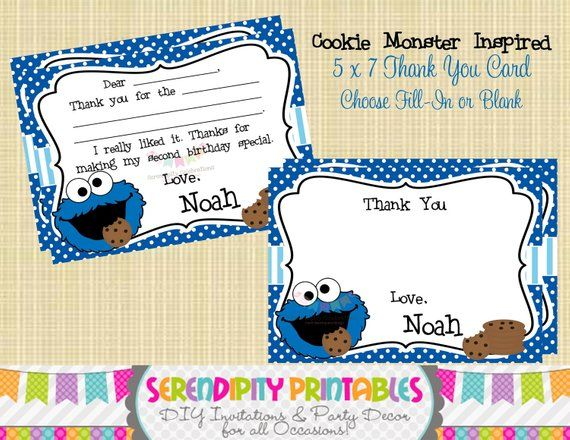 Cookie Monster Inspired Collection Printable Thank You Card - Use
