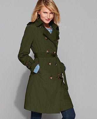 London Fog Petite Coat, Classic Belted Trench Coat - Womens Petite ...