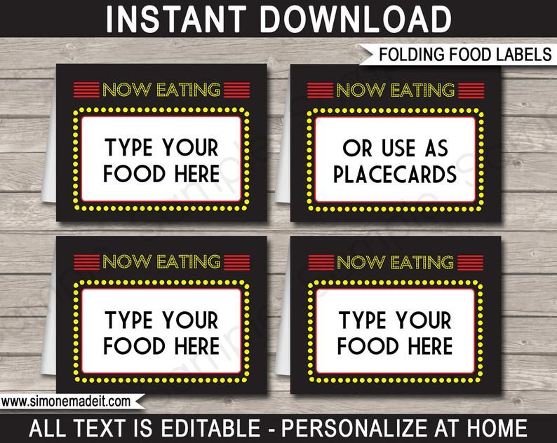 Movie Night Birthday Party Invitation Decorations Printable Etsy Party Food Label Template Party Food Labels Food Label Template