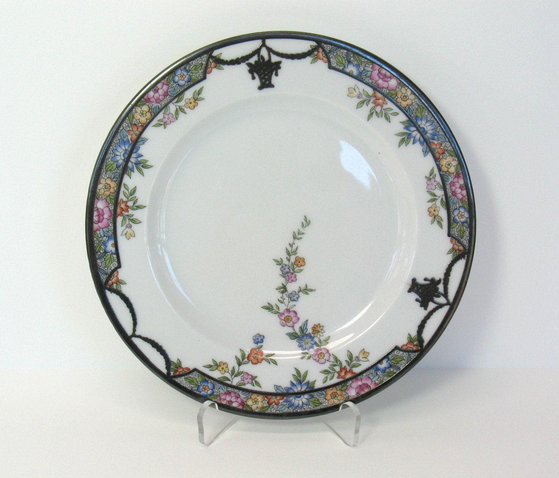 Porcelain Plate Bavaria Floral Silver Gilt Trim Royal Selb Bavarian Hutschenreuther by MicheleACaron on Etsy