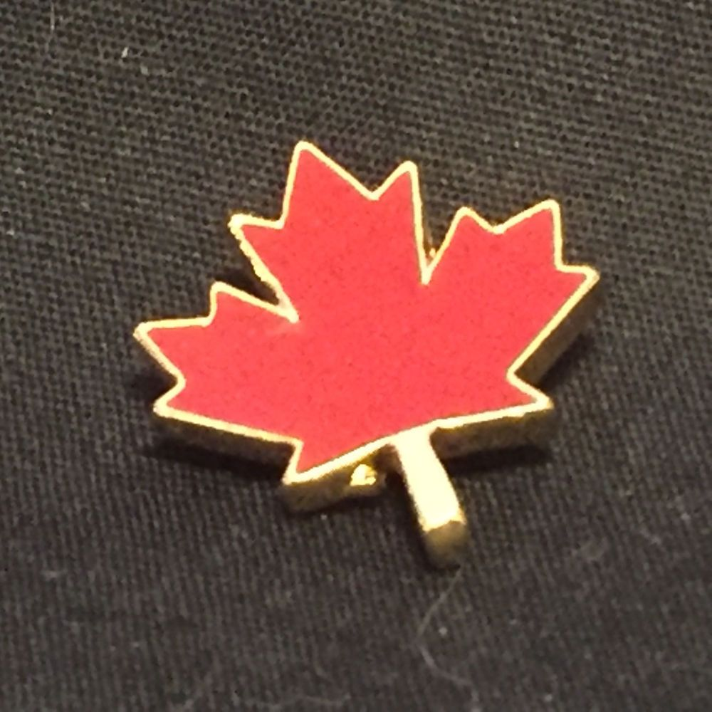 22810ea3d4f Vintage Maple Leaf Canada Red Enamel Lapel Pin Tie Tack ...