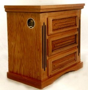 Nightstand with biometric lock safe in top drawer