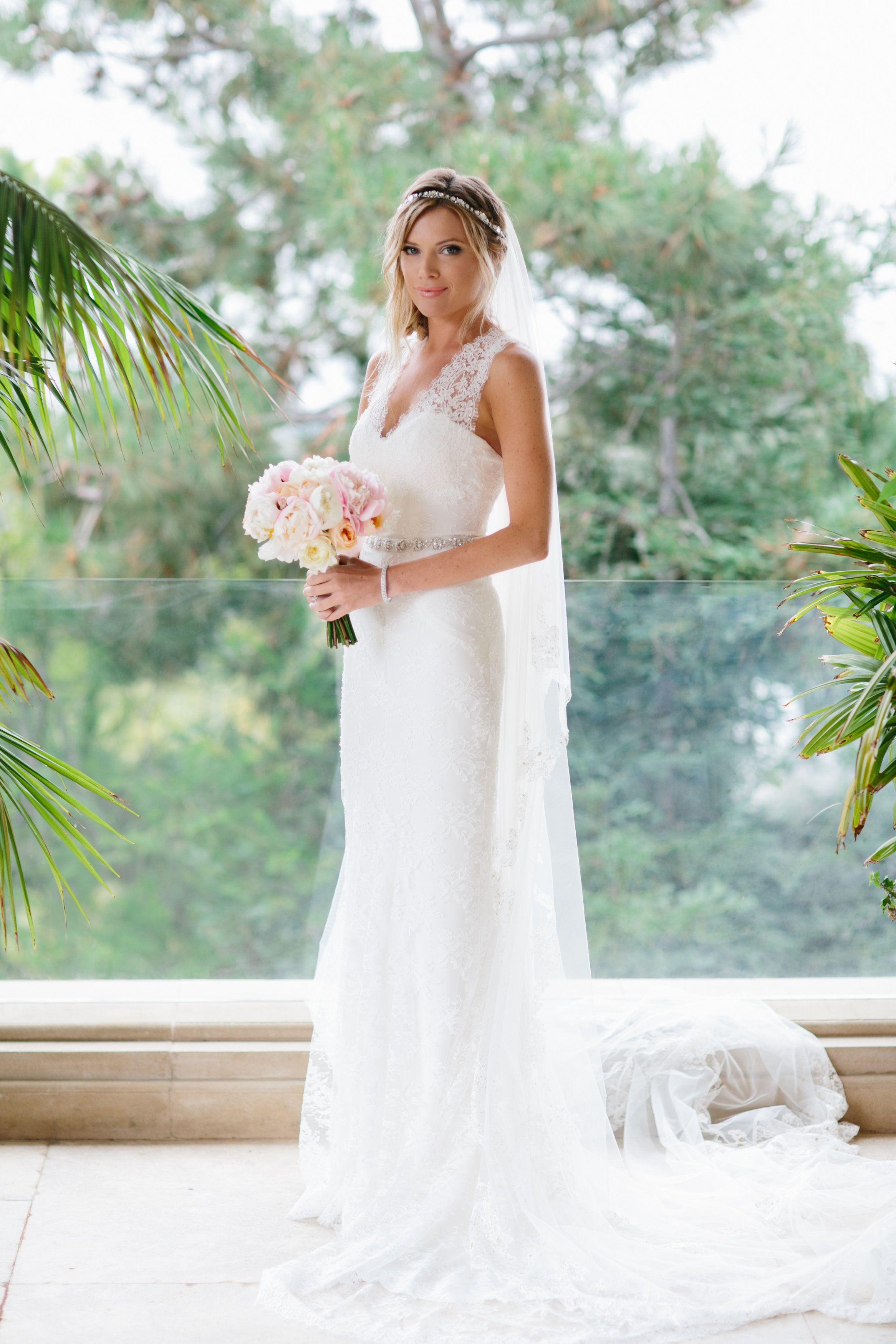 Jordan Foster wearing Monique Lhuillier on her wedding day. Heather ...