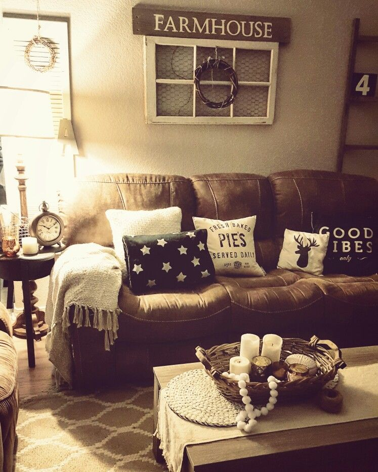 Teal Blue Accents Rustic Living Room Farmhouse Brown Couch Cozy Home