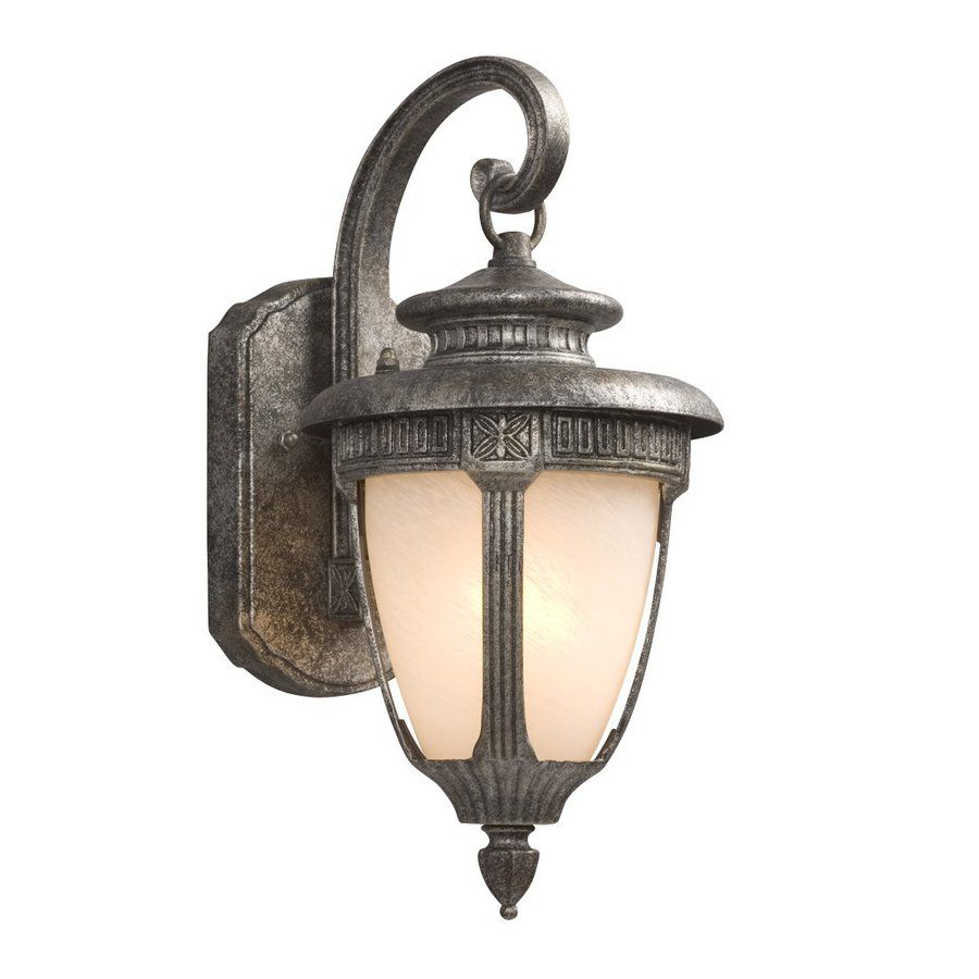 Shop Galaxy 14 5 In H Antique Silver Outdoor Wall Light At Lowes