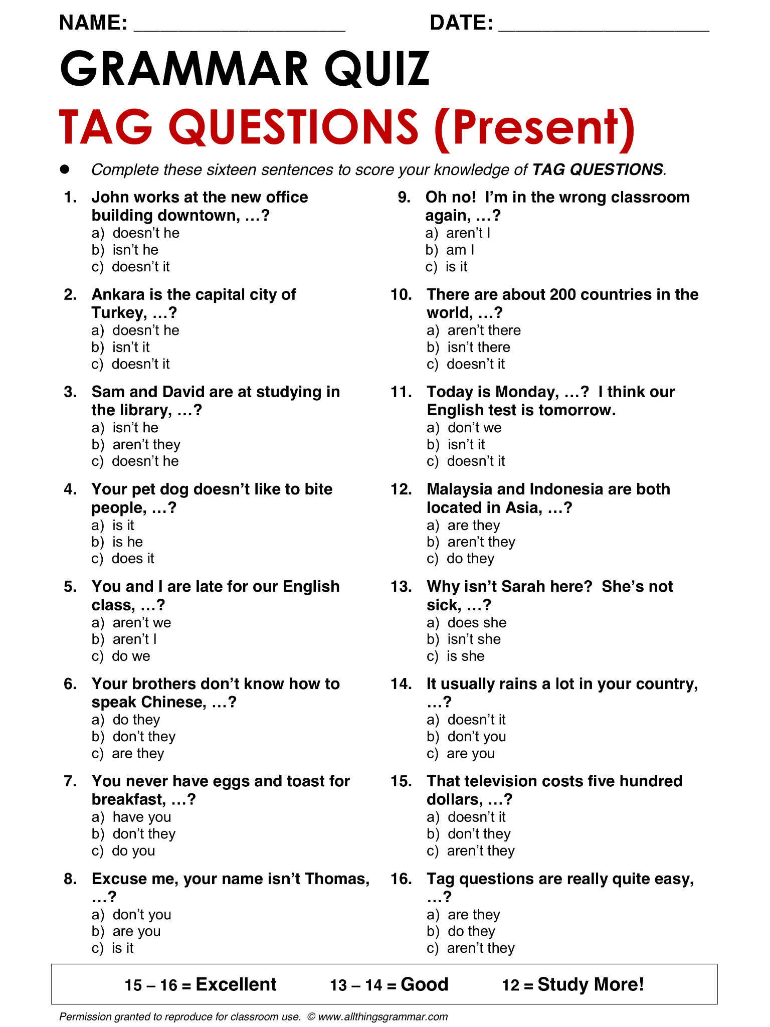 English Grammar Tag Questions Lthingsgrammar Tag