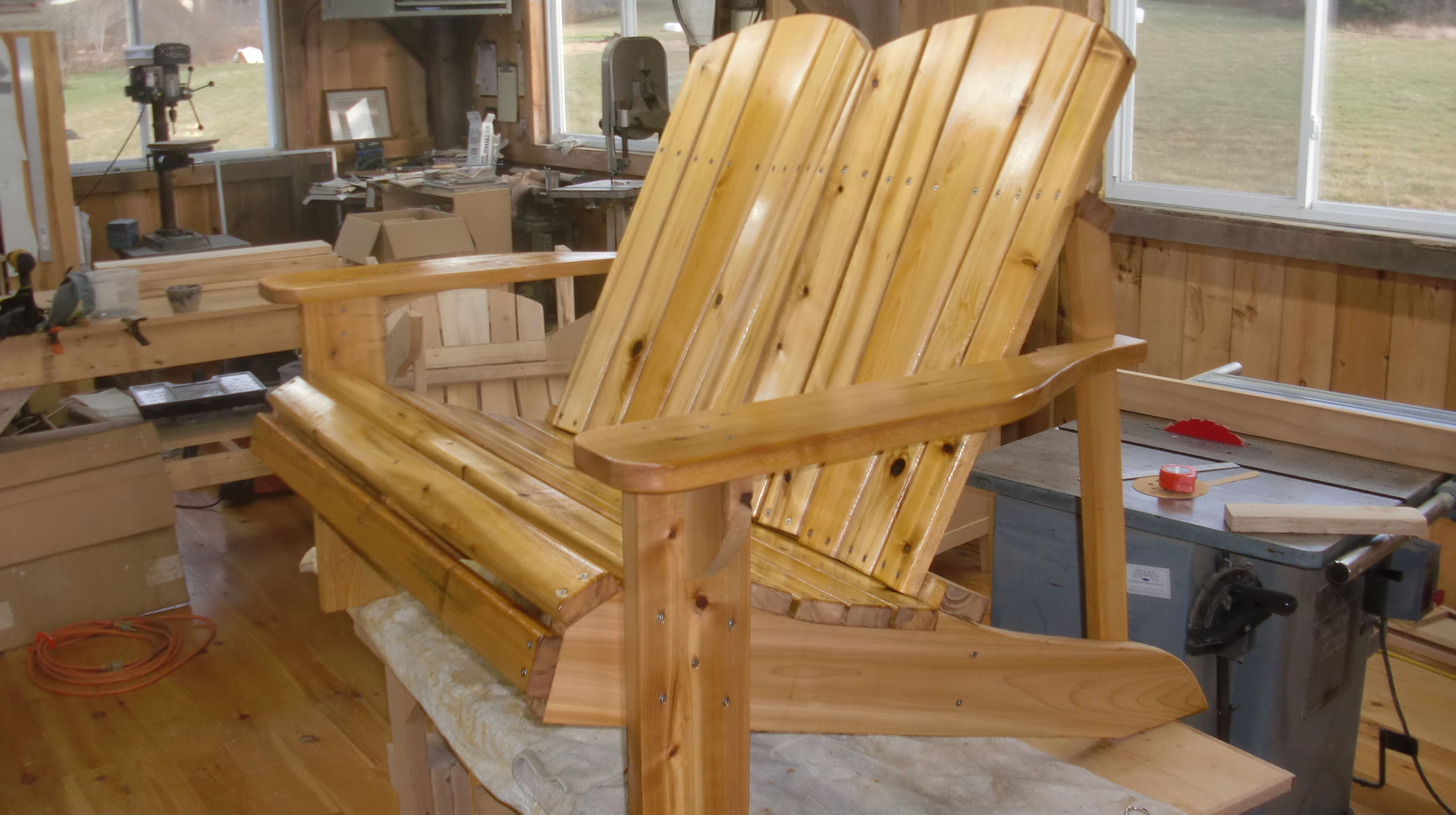 Adirondack Loveseat With Penetrating Oil Love Seat Adirondack Outdoor Chairs