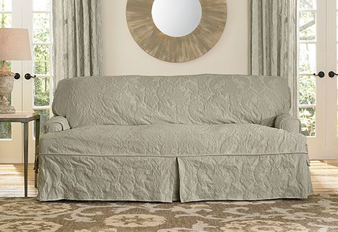 Matelasse Damask One Piece Sofa Slipcover Stylish Stuff